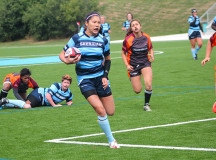 Cecilia Lac boosts speed down the right wing to score the ladies their first try of the match
