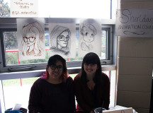 Animation students, Nicole Colada and Rebecca DeGirolame hold down the Sheridan Animation Council booth.