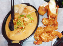Chang Noi`s lobster roll, coconut shrimp and curry.