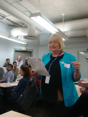 Judy Suke going over the agenda.