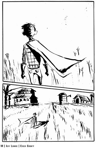 A page from Lemire's Tales From the Farm House, the first book in the Essex County series.