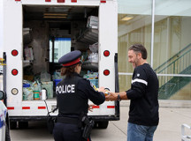 Police Constable Stephanie Gorrill accepted food donations for the event from a generous shopper.