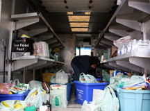 Donna Behmer, Operations Manager for the Eden Community Food Bank, volunteered her time and sorted through some of the donations that were loaded on the truck.