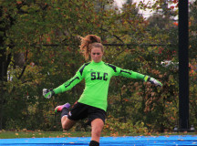 Nicolle Gaudet makes a goal kick