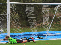 Nicolle Gaudet dives for the save but Humber's shot finds the mesh