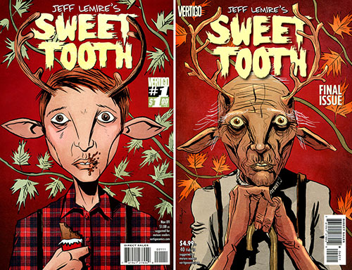 The first and last covers to Lemire's first monthly Vertigo series, Sweet Tooth.