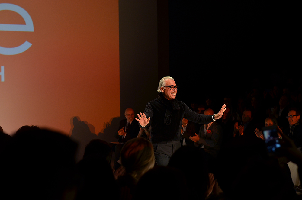 Joe Mimran, the creative director of Joe Fresh, takes a bow after debuting his Fall 2013 collection at World MasterCard Fashion Week last season. Photo by Jessica Weingarten.