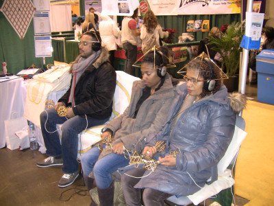 Visitors trying to find inner peace through transmission meditation.
