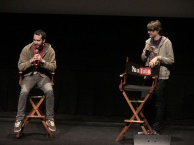"Khyan Mansley( left) and Charlie Mcdonnell (right) answering questions from the audience after screening a short film called ""The Tea Chronicles""."