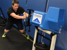 Andrew Dickinson of Sheridan performing the push exercise