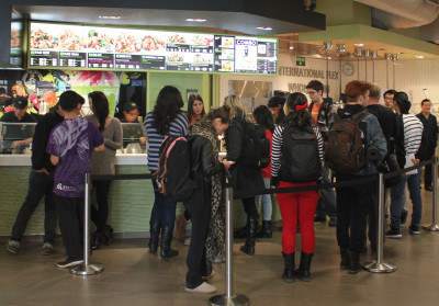 People line up in front of the Trafalgar Campus Thai Express for lunch.