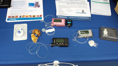 Insulin pumps can come in various sizes and colours