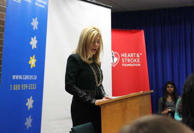 MP Eve Adams speaking to White Oaks students about the importance and results of anti-smoking initiatives by the federal government.