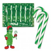 Pickle-flavoured candy canes.