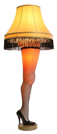 The leg lamp as seen in A Christmas Story.