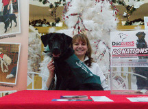 Déja, dog guide in training, poses with her foster mom at the dog guides table, where there was a donation bin.
