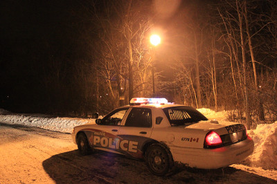 Halton Police car blocking trails in front of Sheridan College after a call of a sexual assault.