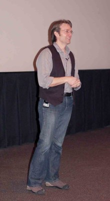 Cory Trépanier getting ready to screen his film, Into the Arctic II, last week at a presentation for alumni at Trafalgar Campus.