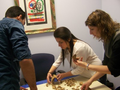 Moussa Sukkari (left), Cassandra Olguin and Dr. Jaime Ginter work to put the remains back together.