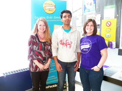 Harman Brar poses with Tracy O'Donnell (right) and Campus Program Co-ordinator, Shannon Gronan (left) after winning the $2,500 grand prize