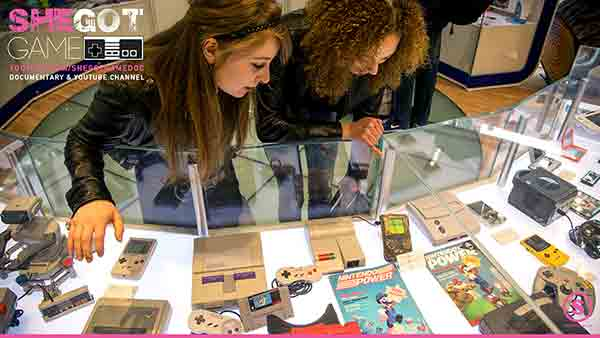 Cailleah Scott-Grimes and her co-worker Dominique Skerritt admiring nintendo's history at Nintendo World, NYC