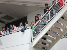 students watching event from the upstairs