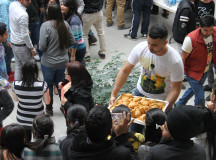 Student union distributing samosas for the students