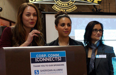 From left: Miranda Galati, Daniella Macri and Michelina Williamson, speak to the crowd and introduce an icebreaker activity at the Corp. Comm. Connects event last week in the SCAET Building.