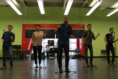 From left, Ben Ward, Nestor Lozano, Jonah McIntosh, Jordan Kenny and Dan Byrne, sing 'Ain't Too Proud To Beg' by The Temptations in preparation for tribute concert.