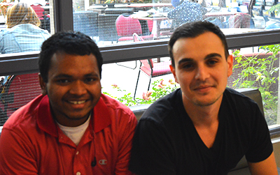 System Analyst Students, Daniel Matchias (on the left) and Stefano Barca (on the right), spoke on the drinking ages changing at some bars in Oakville.