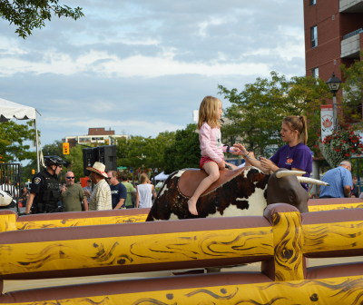 A Bullriding station was set up for kids at the First Annual Kerr Festival on Sept.6.