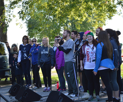 The Sheridan Theatre Students put on a performance during the opening speeches at the Terry Fox Run on Sunday, Sept.14.
