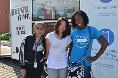 Simran Bassi, a first year Early Childhood Education student, Chan Yu, a software and network engineering student, and Mishka Taylor, an interior decorating student, volunteered with Break It Off to help spread information and encouragement to students