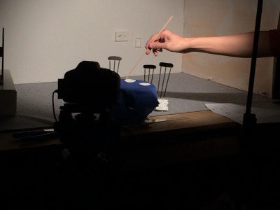 PHOTO BY JOE MARCY Team Jellos putting together their set for their short animation 'Dig In'.