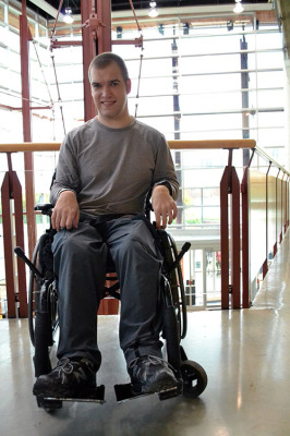 Peter Biec, a wheelchair-bound student who went to the SU looking for help and has been left to deal with the situation on his own.