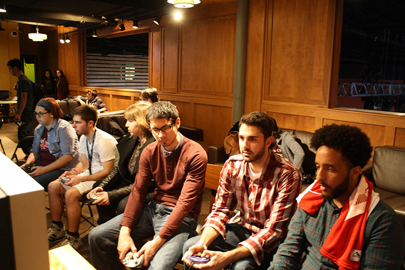 Old CRT televisions lined the walls as contestants duked it out in Super Smash Brothers.
