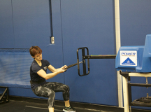 Megan Wong powers through the push component of the PREP test