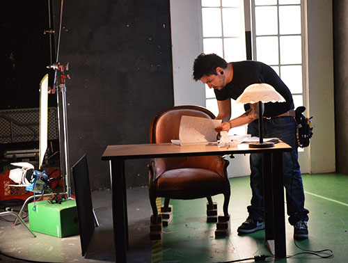 The Media Arts students demonstrated what happens behind a film set within a room in B-Wing.