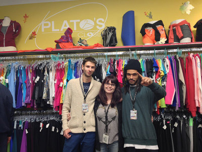 Plato's Closet employees Igor Khlevnikov, social media administrator and a third-year Advertising and Marketing student, Tory Sloan, the store manager, and Sulvano Ferreira, a visual merchandiser, enjoy working at the store because it's not just a regular part-time job - it's enjoyable.