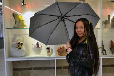 Phebe Leung, a second-year Crafts and Design (Glass) student, is trying to raise awareness for the lack of political freedom in Hong Kong with her community art installation. Vanessa Gillis / Sheridan Sun