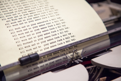 Original typewriter used by Jack Nicolson in The Shining. Photo by Geoff Gunn, TIFF.