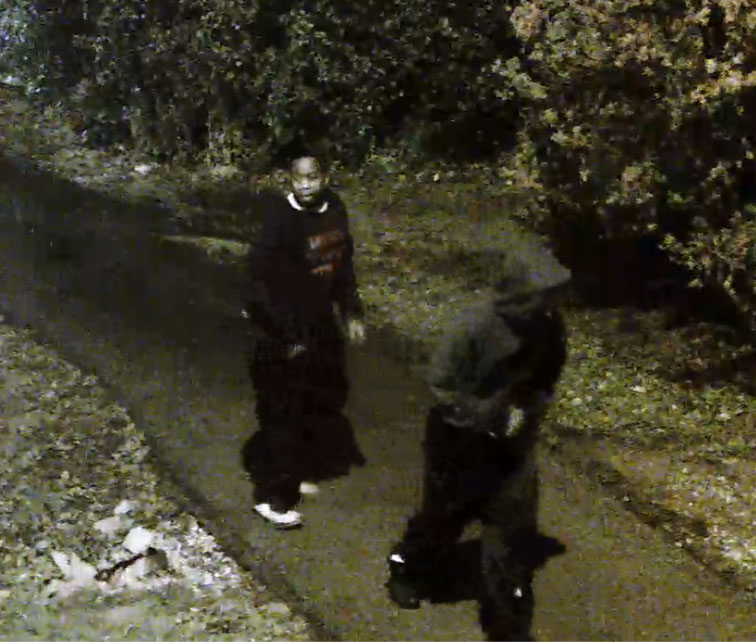 A security camera still of the two suspects involved in the Nov.6 robbery. (Photo provided by Sheridan security)