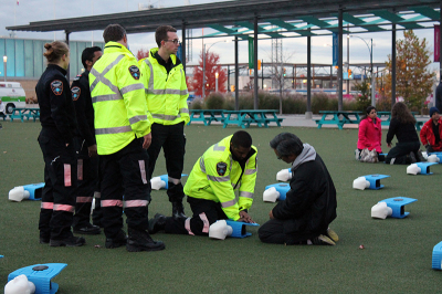 Paramedics taught the public how to properly administrate CPR and hopefully help save a life.