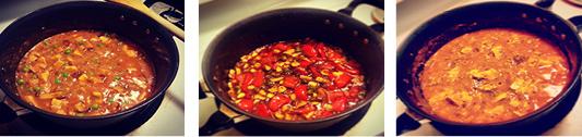 Sumeet Kapila made vegetarian indian dishes, Shahi paneer, spicy schezwan mix veg and mutter mushroom