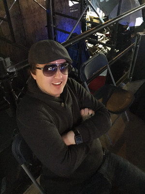 Sheridan graduate Marty Cochrane, a BlackTrax product manager behind the scenes on the set of Pac Man.