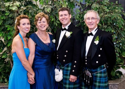From left, daughter Merritt Blundy Brunton, wife Pat, son Chad and Steve Blundy celebrate Chad's wedding day.
