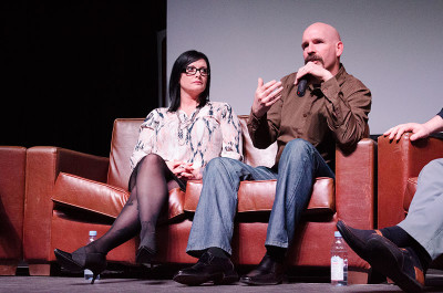 John Cassells, a street youth specialist with SIM Canada, sitting next to Katarina MacLeod, a survivor of trafficking, who raises awareness through Rising Angels.