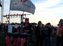 Vendor selling AC/DC merchandise.