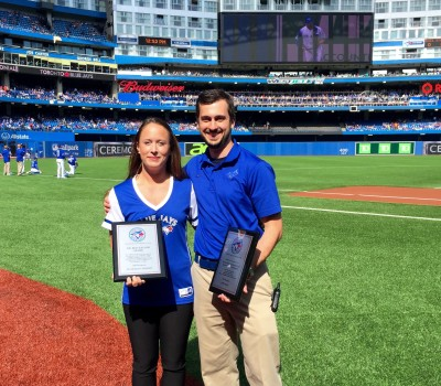 Jacquelyn Ledrew and Joshua Katz, students in Sheridan's Athletic Therapy program, both received awards on Saturday at a sold out game at the Rogers Centre.