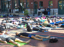 Relaxation pose for everyone in the hatha yoga flow class taught by Jelayna Da Silva.